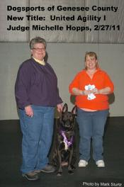 Dutch Shepherd CH Cher Car's Snap Decision earning her UAGI title in UKC Agility